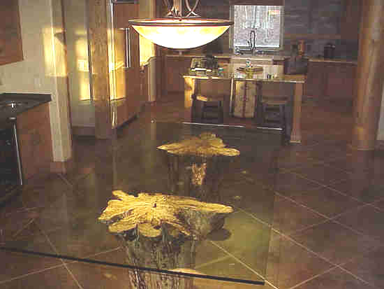 Large Glass Top Stump Table