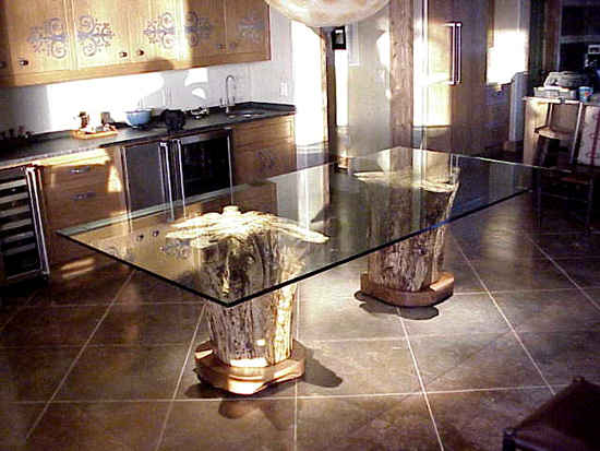 twin stump glass top tables