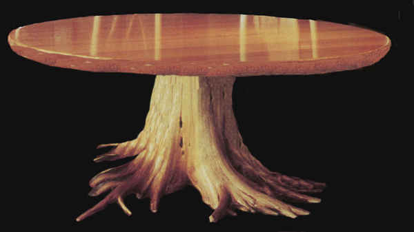 woooden rootball stump table